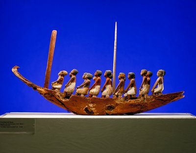 Model boat containing 18 figures