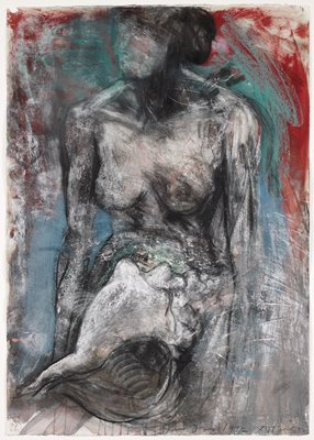 3/4 length nude female with a large conch shell in front of her abdomen; undefined face with dark hair; head turned slightly to PR; turquoise and red areas of ground with grey