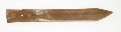 tan jade with ivory-white markings; very thin blade, single biconical perforation at stem of the hilt