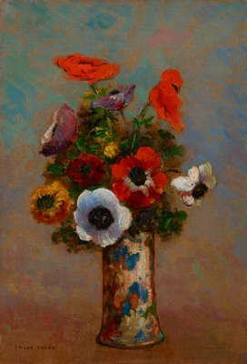 red, white, yellow and purple flowers in multicolored vase; gold wood frame