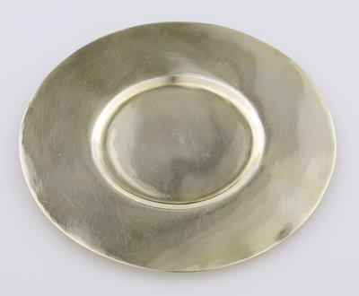 gilt saucer; tiny indentation at bottom center