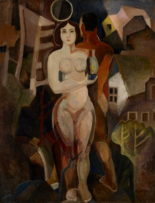 front of nude woman and back of nude man surrounded by buildings; black frame with gold filet