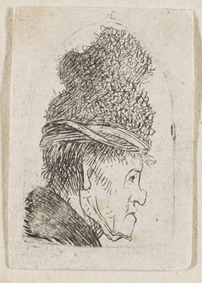 man's head and neck in profile wearing a hat that wraps at the bottom and has a fuzzy irregular shape at top; matted and in frame with four other prints