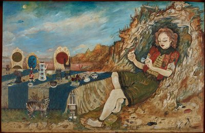 """woman with bare legs and feet at right wearing green skirt with black lace trim and blouse with stripes under a red short sleeved jacket with a black and green lace collar, holding a tiny blue teacup in her PL hand and a toy animal in her PR hand, reclining against a landscape element with swirling fragments of animal heads and sea creatures; low table at left with blue and white striped tablecloth, with three chairs with elaborate white backs and cushions of various colors; various objects on table including a dish with tiny white toy animals, pair of glasses, fruits, shell, note with text (""""Twinkle, Twinkle, Little Bat...""""), tall white teapot, red and white oil lamp; tailless cat in LLC in front of table with blue eyes and zebra-like stripes"""