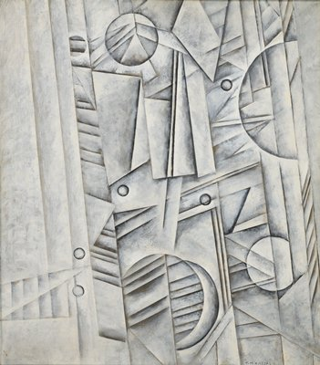 cubist inspired geometric painting in gray tones; diagonal columnar forms at L and R edges, with overlapping rectangular and triangular motifs; overlapping circles scattered; in silver metal frame
