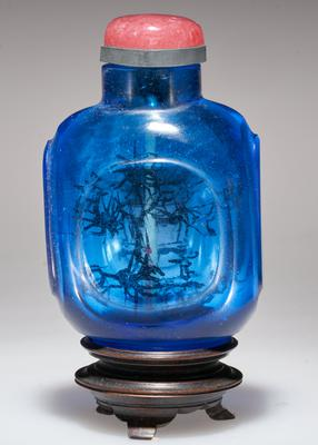 blue glass; pink glass top; carved; painted inside black