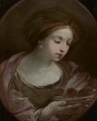 Oval canvas, female figure holding a bowl.