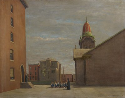 Buildings with architectural details; cathedral spire to the right and another steeple in the distance. In the foreground, a nun leads a line of young girls in school uniforms toward a building where another nun waits on the steps.