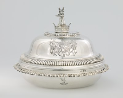 one of a pair of entree dishes with covers; engraved with royal coat of arms, finials in form of owner's crest; gadrooned borders, high domed covers with gadrooned mouldings