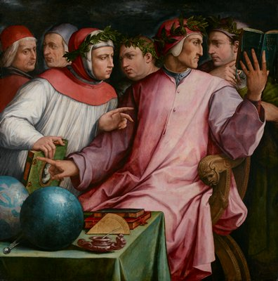 Group portrait of six Italian writers and poets: Dante Alighieri, Francesco Petrarch, Guido Cavalcanti, Giovanni Boccaccio, Cino da Pistoia, and Guittone d'Arezzo.