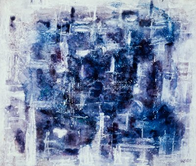 The painting is an interpretation of fog done in the abstract idiom in tones of white, grey and blue. Unframed.