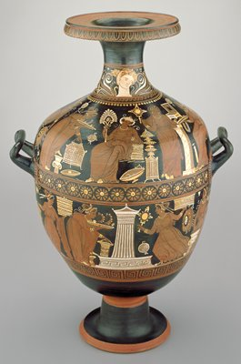 urn-shaped water jar with three handles a pair of horizontal ones on either side and an upright one at the back; two-panel mythological scene around body; an ornate daisy-like floral band between the two panels and stylized palmettes at sides and back; on front center of shoulder 'signature' painted female bust wearing coiffure wrapped in a 'kekryphalos'