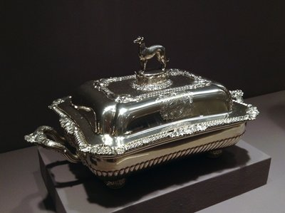 Covered entree dish, number is worn; oblong with shell and gadroon edge, crested cover