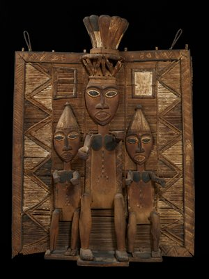 Ekine Society Memorial Screen (called 'Duen Fobar'); wood and raffia with traces of pigment Nigeria,Ijo Tribe,late XIXc.