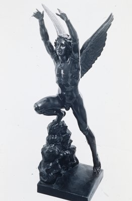 Cast c.1841 after plaster model of 1831. Signed P.Grass (on right side of base). Inscribed 'ICARE. D'apres la statue en bronze detruite en 1870 à Strasbourg' on front edge of base. Foundry mark Eck et Durand (on back of base).