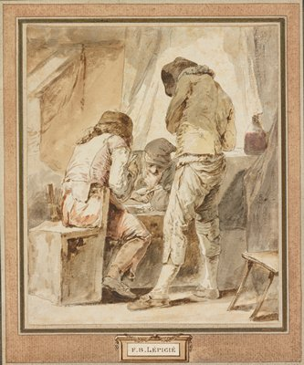 three figures surrounding low table, two sitting and one standing