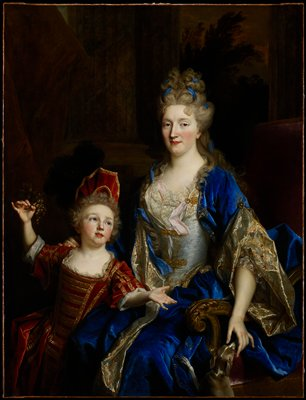 Portrait. Madame Aubry wears an ultramarine blue velvet dress, cloak lined with flowered brocade and a bodice of silver lamé with lace and rose ribbon. Her hand touches a whippet which may have belonged to the artist as it appears in other portraits. Her hair is styled à la Fontanges. She married into a family from Tours and later became the Marquise de Castelnau in the Berry region near Bourges.