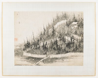 Forest landscape with building at upper right; path through forest leads to bridge over water; small figure on path; wall surrounding building and forest