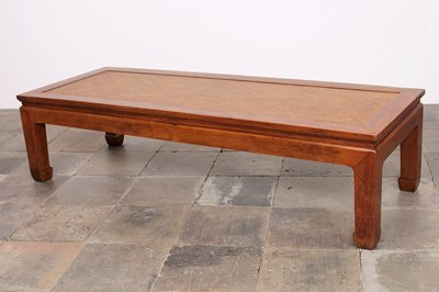 platform with heavy legs with slight inner scroll at feet and plain apron; cane top