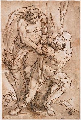 line drawing of twisting, slightly crouching nude man with a standing man behind him, cutting first man's PR shoulder