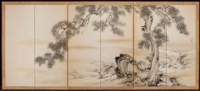 """gnarled pine tree with a small waterfall at right; black ink and wash with """"clouds"""" of gold spots"""