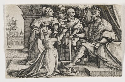 woman kneeling at L before a ruler seated on throne at R; baby at woman's knee and king's foot; a female figure with other male figures in background; open archway at L overlooking masonry structures