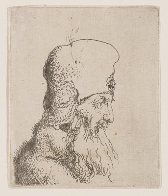 profile bust of a male figure facing R with tall hat, long white beard, and coat