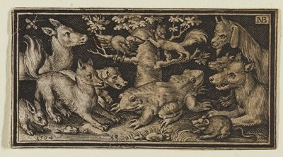 double-headed frog near center below tree; fierce looking bird on L branch of tree, and angry looking rodent on R branch; fierce and frightened looking animals including wolf, dogs, and a deer