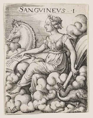 woman riding on a billowing cloud, facing forward, resting PR hand on open book of music; horse behind her; peacock at LRC; woman is holding a large instrument in PL hand