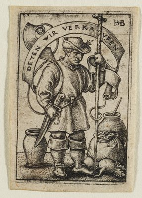 male figure in heavy dress standing with large staff in PL hand, dagger at PR waist; large jars and a bag of root vegetables at feet; banner over the top in German