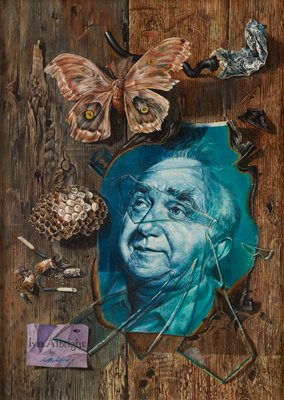"""tromp l'oeil style; portrait of a man in shades of blue with burned edges in LLQ, with broken glass over image; tube of black paint with stream of paint squeezed out at top right; large moth pinned with pin with round red head at top left of center; part of a wasp nest at left center; razor blade behind ULC of portrait of man; snuffed-out cigarette with burning ashes and two matches below wasp nest; purple rectangular paper in LLC--""""Ivan Albright by A Bohrod""""; background of weathered wood"""