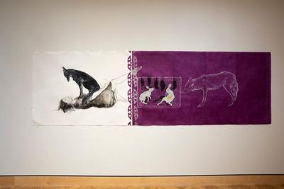 a: White ground; image of a female figure laying on her back with a black coyote seated on her stomach and looking down to her face b: Purple ground; two white rabbit and five black birds in a white cage at the L side of the image and a coyote drawn in white pencil stands to the R of the cage and looks towards it