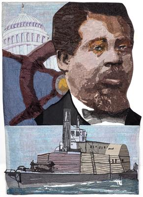 portrait of a Black man along TR with a ship's wheel and a capitol dome behind him; imgage along bottom of a ship; pocket on verso and rings for hanging