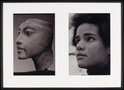 two black and white photographs matted and framed together; a (left) = ancient Egyptian sculpted portrait of a woman, seen from PL side--top of head not represented; b (right) = close-up portrait of dark-haired young woman with a serious expression, seen from PL side