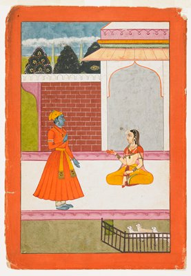 Krishna stands on left and converses with Radha, who is seated at our right. They are located within an Islamicate court with a landscape in the background and lambs at the lower right.