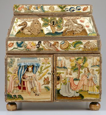 Raised work (stumpwork) casket depicting the story of Queen Esther and King Ahasuerus; Initialed 'BP' and dated 1662, worked in polychrome silk and metallic threads on white satin and decorated with seed pearls, English; Front King Ahasuerus presenting the royal scepter to Queen Esther; Back The hanging of Haman; Right side the search for a wife for King Ahasuerus; Left side Mordecai honored by Ahasuerus and paraded in royal regalia; Top King Ahasuerus, Queen Esther and Haman at dinner; The casket with two doors opening to reveal curious set of drawers with secret compartments; the top lifting to reveal a pink velvet interior fitted with two bottles, an inkpot and a pen tray, the back of this lid with brackets for a mirror that now is missing; a second lid at the top opening to reveal a shallow silk-lined tray. A 17th century oak box lined in marbled paper with replaced lock accompanies the casket (95.14cc Traveling Case for Stumpwork Casket); an itemized list of pieces and their dimensions is in the object file in the registration office. Surface ornamentation (Needlework)