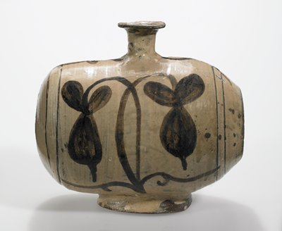 Punch'ong / Buncheong stoneware wine bottle in 'rice bale' shape, painted in underglaze iron brown on brushed slip; flowering plant with two drooping stems