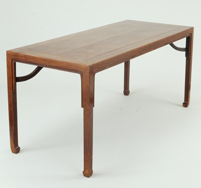 huang hua-li painting table; sides four-square with large leg to table top bracing; hoof feet; minimal key pattern band at underside of table to top third of legs
