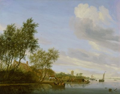 Dutch landscape. Golden Age of Holland. A wide river with various river craft, which stretches across the width of the canvas and flows to meet the horizon. In the far right distance, a village can be seen through a gentle mist, while on the wooded bank to the left, a cart filled with singing and shouting peasants stands before a row of cottages. As they wave to the boatload of passengers approaching the shore, a ferryboat loaded with cattle pushes off. Further upstream, a boat in full sail carries its passengers toward the distant hamlet with its church steeple.