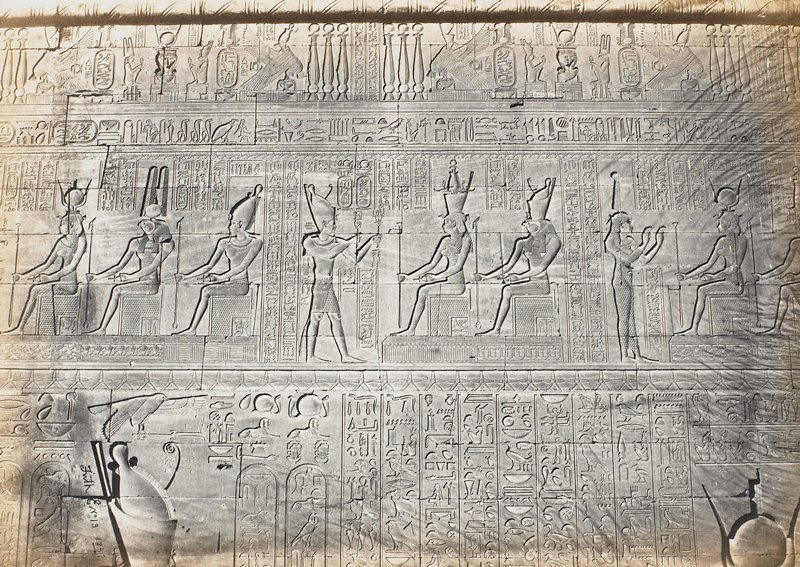 hieroglyphs and sculptures described on attached leaf from manuscript