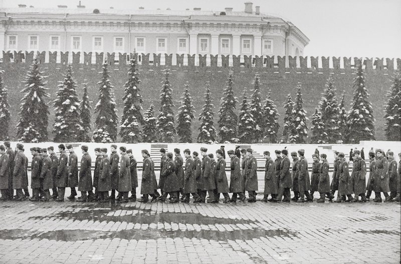 line of soldiers in front of snow-covered evergreens; cobblestone(?) street; large building behind wall