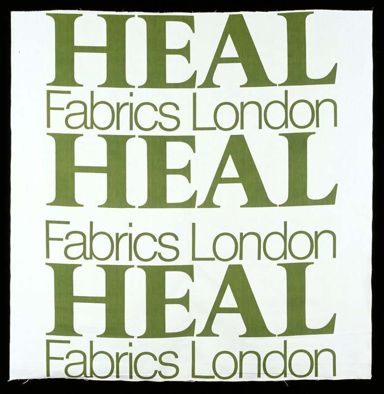 white ground, green letters HEAL Fabrics London