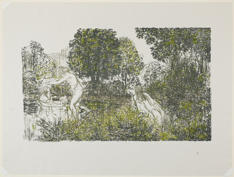 sketchy image of figure bathing with child at L, accompanied by standing figure; another leaning figure R of center; heavy trees and foliage; greens and brown
