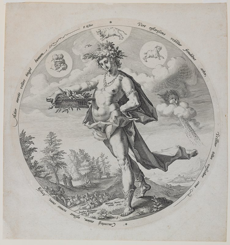 standing draped female figure wearing a leafy crown, earrings, beaded necklace, armlets and leg decorations on her calves; woman holds a basket in her PR hand with flowers and has her PL hand on her hip; figures in LLC seated around a table--one figure plays a lute; symbols for Gemini, Taurus and Aries in sky; face blowing wind in sky at right; round image