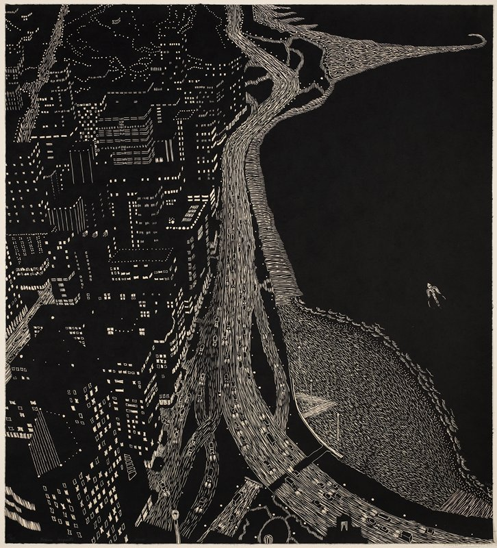 black and white; dark nighttime image of roads along a shore in a city, with cars; city skyscraper lights at L; water at R with boat in LRQ