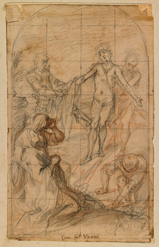 Christ shown being disrobed among anguished figures