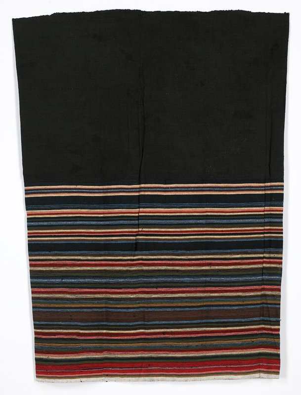 black coarse-woven top band; striped bottom band with multicolored stripes of various widths and colors