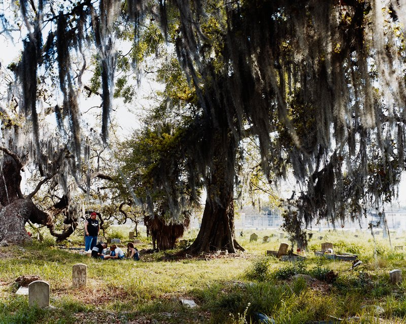 cemetery; five people--four seated on ground; large tree with willow-like branches hanging down; gnarled tree at left