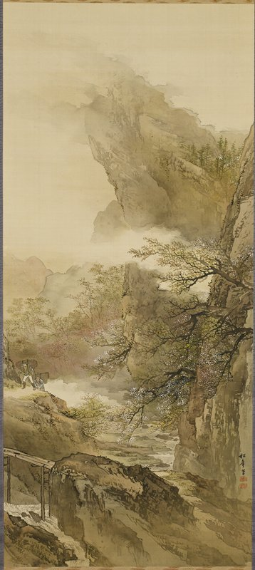 rocky mountain landscape with blossoming trees at center in foreground, middle ground and background; river at LLC and center, with tall wooden bridge in LLC; two figures with bundles over their backs walking on path at L edge, below center