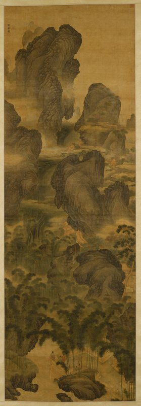 five figures on a terrace at bottom center; lush landscape with grey rock formations; waterfalls at L; bamboo at bottom